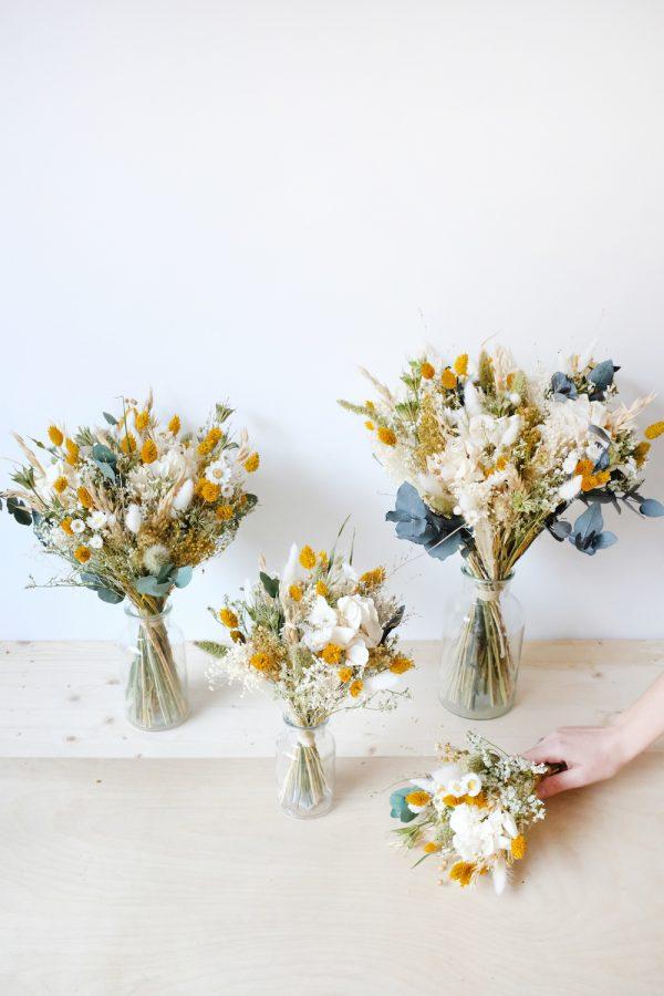 Bouquet ambre fleurs séchées jaune et ivoire